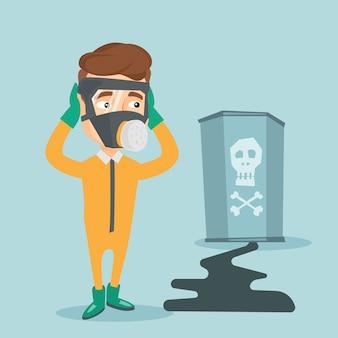 Hombre preocupado en traje de protección radiológica.