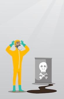 Hombre preocupado en traje protector de radiación.