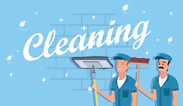 Hombre productos y suministros de limpieza