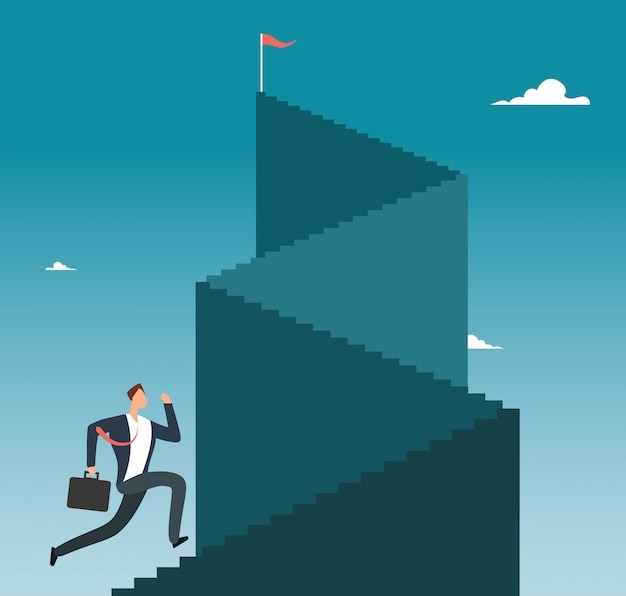 Hombre profesional corriendo por la escalera al pico de la montaña. concepto de vector de éxito empresarial