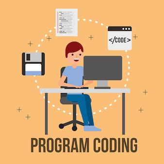 Hombre programador computadora disquete programa de codificación web