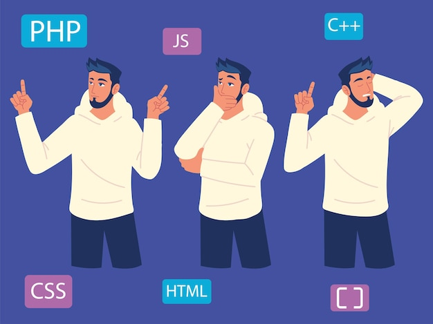 Hombre programador estudiando lenguajes de programación