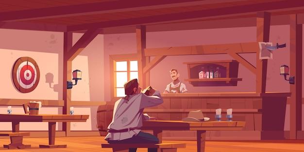 Hombre en pub de cerveza con barista stand en escritorio, bancos y mesas
