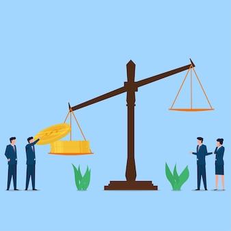 El hombre puso la moneda en la metáfora de la balanza legal de la ley contra la corrupción y el soborno.