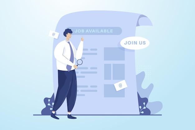 Un hombre que busca el concepto de ilustración de vacante de trabajo