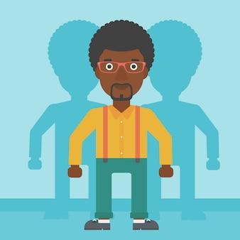 Hombre que busca para la ilustración de vector de trabajo.