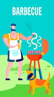 Hombre que cocina en la parrilla de barbacoa plana ilustración vectorial