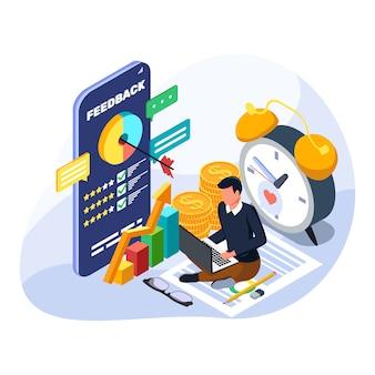 Hombre que controla el crecimiento de las finanzas en la computadora portátil. ilustración de gestión financiera isométrica.