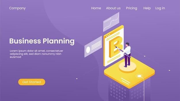 Un hombre que elabora un plan de negocios, concepto de ilustración isométrica, página de destino