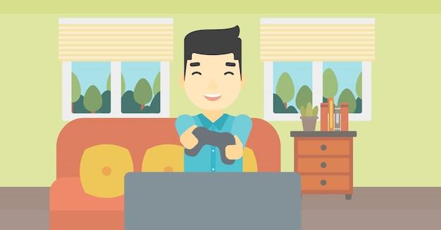 Hombre que juega el ejemplo del vector del videojuego