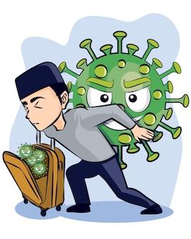Un hombre que lleva el virus de la corona mientras va a la ilustración de vector de fondo azul de la ciudad natal.