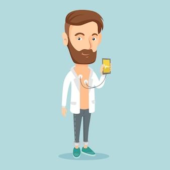 Hombre que mide el pulso del ritmo cardíaco con el teléfono inteligente.