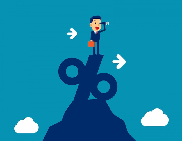Hombre que mira a través del telescopio de pie encima de signo de porcentaje. ilustración de vector de marketing de negocios de concepto, exitoso