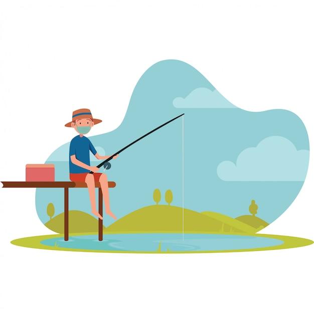 Un hombre que pesca solo en la ilustración del pequeño muelle