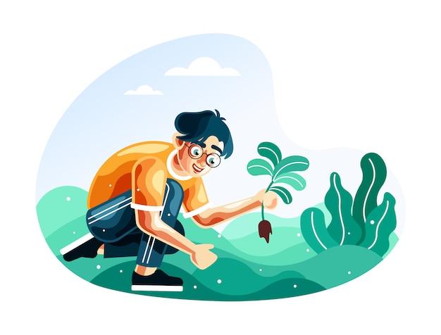 Hombre que planta plantas para la ilustración de la reforestación con un nuevo estilo de vector de dibujos animados