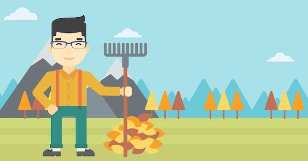 Hombre que rastrilla la ilustración del vector de las hojas de otoño.