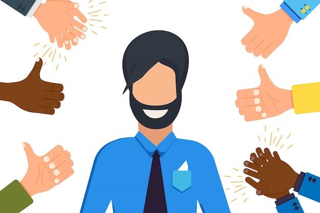 Hombre que recibe la ilustración de aplausos de la mano