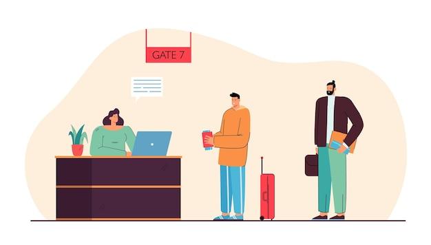 Hombre que se registra para la ilustración del vuelo. personas de pie en el mostrador de registro de la puerta en el aeropuerto