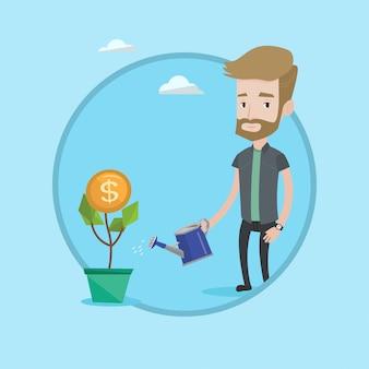 Hombre que riega la ilustración del vector de la flor del dinero.