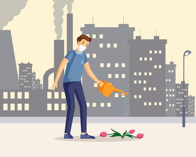 Hombre que salva la ilustración de color plano de la naturaleza. personaje de dibujos animados de chico caucásico joven regando flores moribundas en ciudad industrial. protección del medio ambiente contra la contaminación del aire, concepto de problema de emisiones de co2