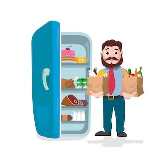 Hombre que sostiene las bolsas de papel llenas de frutas, verduras y productos de panadería frente a un refrigerador. ilustración vectorial