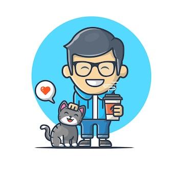Hombre que sostiene el café con cat vector icon illustration. logotipo de la mascota del amante del gato