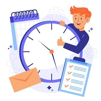 Hombre que sostiene un concepto de gestión del tiempo de reloj