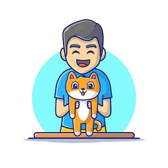 Hombre que sostiene el icono de gato. gato y personas, icono animal blanco aislado