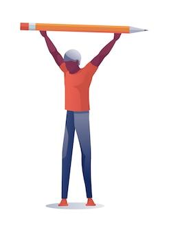 Hombre que sostiene el lápiz enorme sobre la ilustración principal