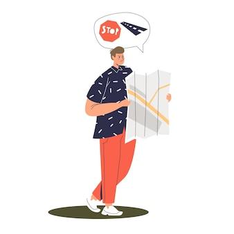 Hombre que sostiene el mapa y elige la dirección incorrecta a la carretera. concepto de navegación y toma de decisiones equivocadas. personaje masculino de dibujos animados caminando mal.