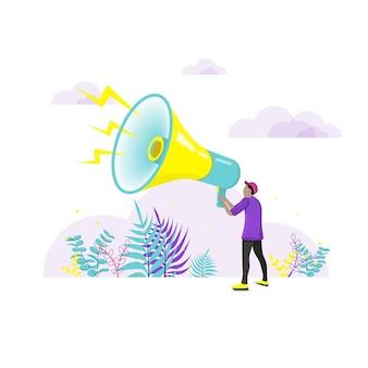 Hombre que sostiene el megáfono. concepto de marketing social. ilustración de vector plano.