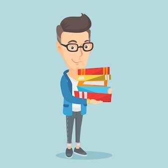 Hombre que sostiene la pila de libros ilustración vectorial.