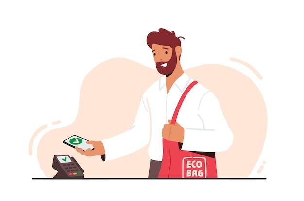 Hombre que sostiene el teléfono inteligente con la aplicación para el pago en línea