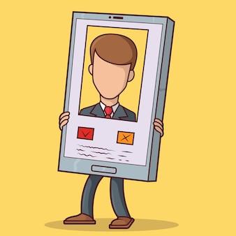 Hombre que sostiene el teléfono que muestra el perfil en la aplicación de citas. redes sociales, concepto de diseño de relaciones