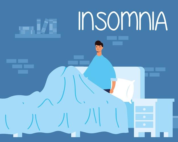 Hombre que sufre de insomnio ilustración de personaje