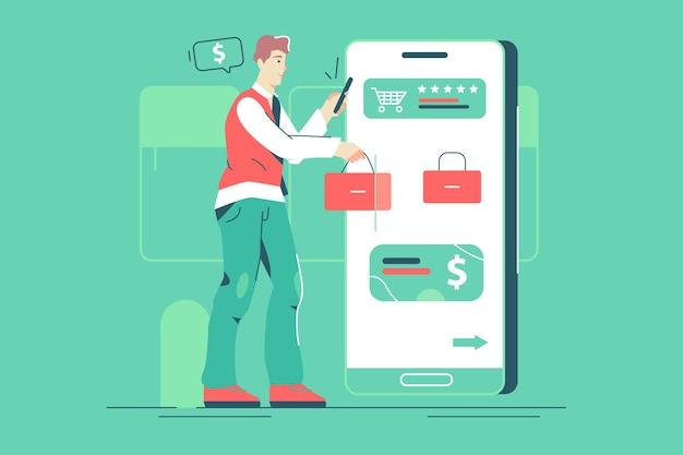 Hombre que tiene compras en línea a través de la ilustración de vector de teléfono inteligente. guy paga las compras mediante el método sin contacto de estilo plano. compras en línea, concepto de tecnología. aislado sobre fondo verde