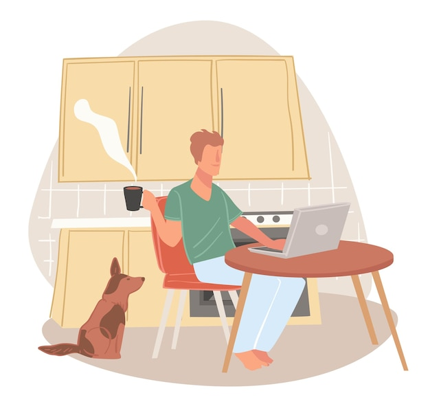 Hombre que trabaja desde casa usando la computadora portátil para completar tareas y proyectos en el trabajo