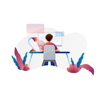 Hombre que trabaja en la computadora, vector ilustración plana de programador, analista de negocios, diseñador, gerente