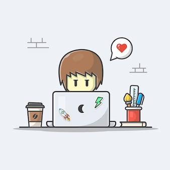 Hombre que trabaja en la ilustración del icono del ordenador portátil