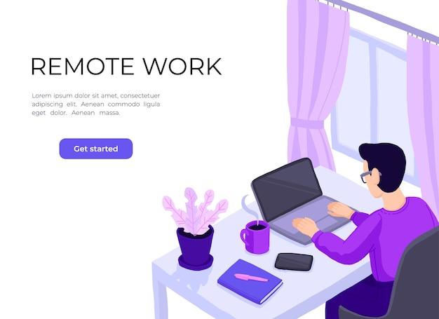 Hombre que trabaja en la oficina en casa. personaje sentado en el escritorio en la habitación, mirando la pantalla de la computadora.