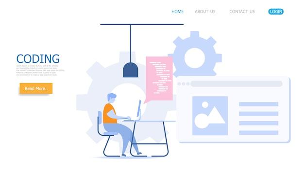 Hombre que trabaja con la página de destino de codificación vectorial