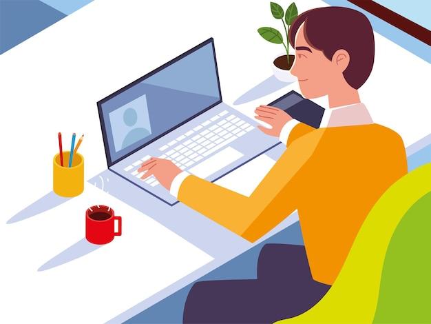 Hombre que trabaja con la taza de café del ordenador portátil y la planta en la ilustración del espacio de trabajo del escritorio