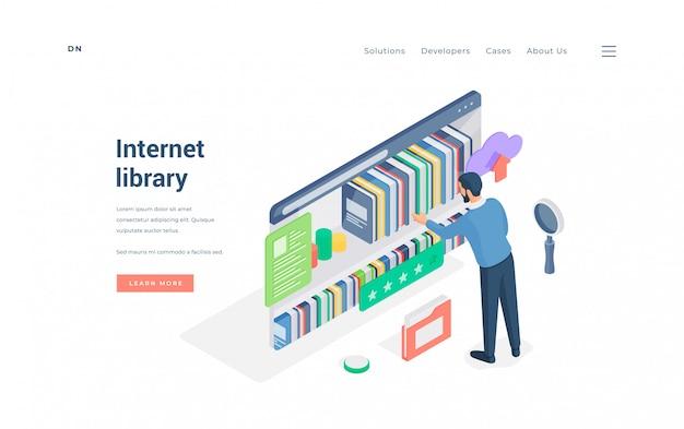 Hombre que usa la biblioteca de internet con una buena ilustración de calificación