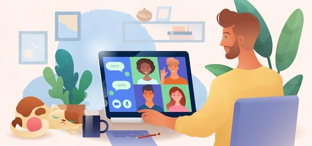 Hombre que usa la computadora portátil charlando con colegas en línea en la acogedora ilustración de vector de oficina en casa