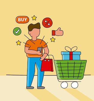 Hombre que usa la tecnología de compras en línea del teléfono inteligente con carro e iconos ilustración