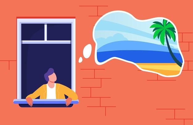 Hombre quedándose en casa y soñando con vacaciones tropicales. palmeras y playa en la ilustración de vector plano de burbuja de pensamiento. bloqueo, prohibición de viajar