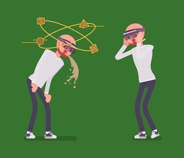 Hombre de realidad aumentada que tiene náuseas y experiencia negativa
