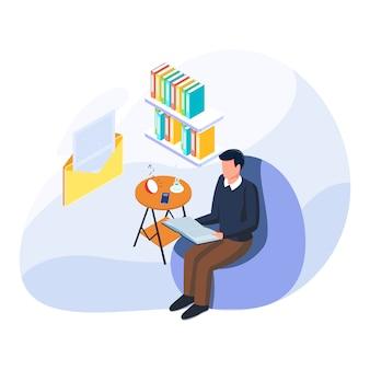 El hombre recibe un mensaje de correo durante el disfrute de leer un libro y escuchar música en las vacaciones