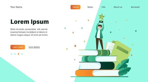 Hombre recibiendo premio por escrito. estrella, escritor, ilustración vectorial plana de plumas. diseño de sitio web de concepto de conocimiento y educación o página web de destino