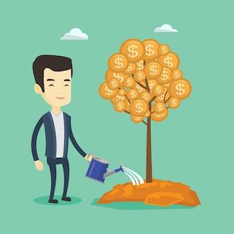 Hombre regando el árbol del dinero.